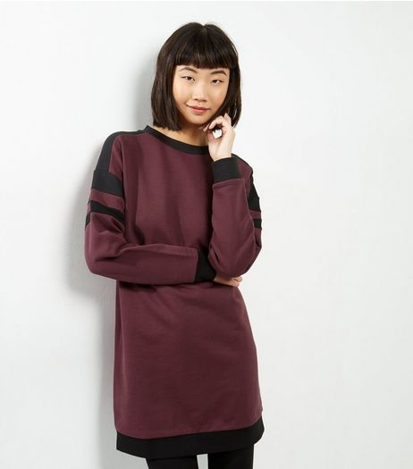 Burgundy Colour Block Stripe Sleeve Sweater Dress | New Look
