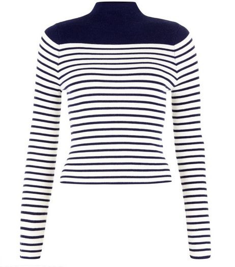 Teens Navy Colour Block Stripe Funnel Neck Jumper | New Look