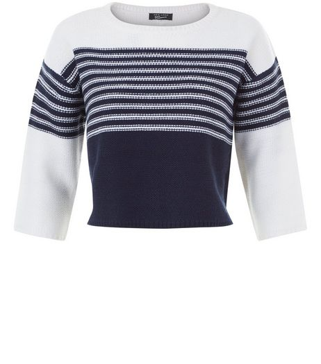 Teens Blue Colour Block Stripe Half Sleeve Jumper | New Look