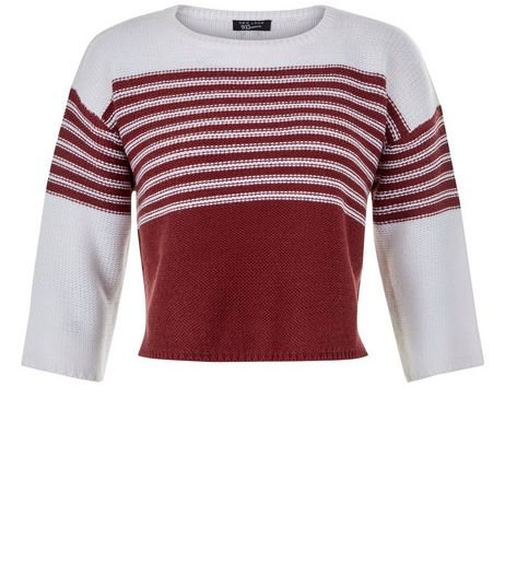 Teens Red Colour Block Stripe Half Sleeve Jumper | New Look