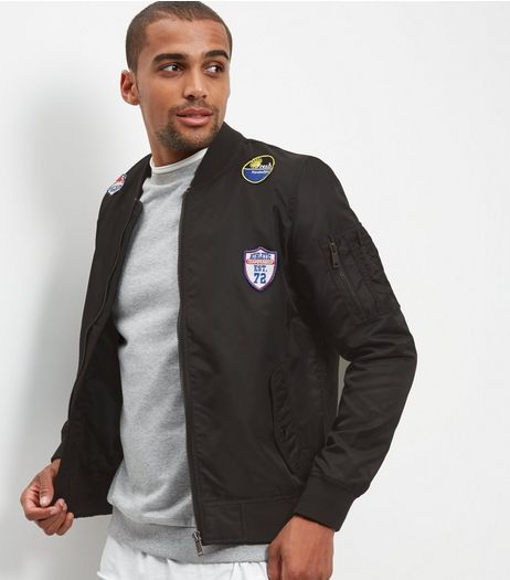 Black Badge Embroidered Bomber Jacket | New Look
