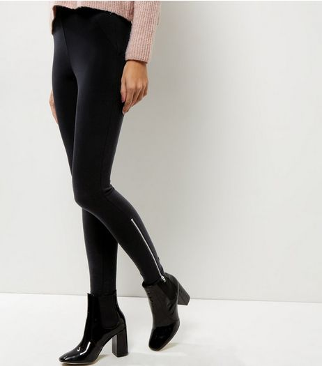 Black Zip Side Leggings  | New Look