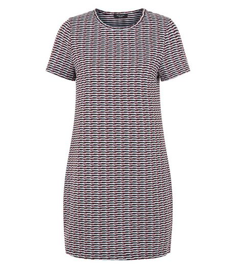 Red Geo Jacquard Tunic Dress | New Look