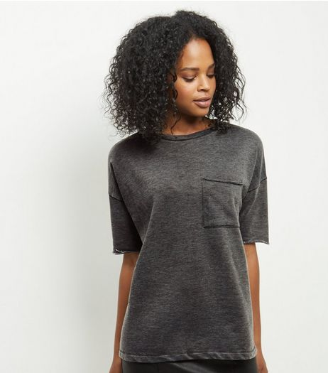 Grey Acid Wash Single Pocket T-Shirt  | New Look
