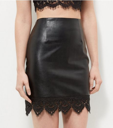 Cameo Rose Black Leather-Look Crochet Trim Skirt | New Look