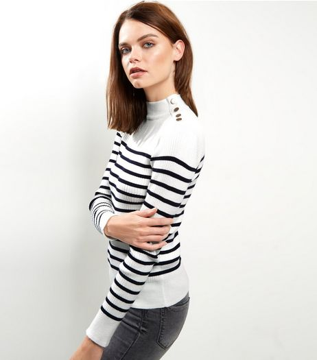White Stripe Ribbed Button Trim Jumper  | New Look