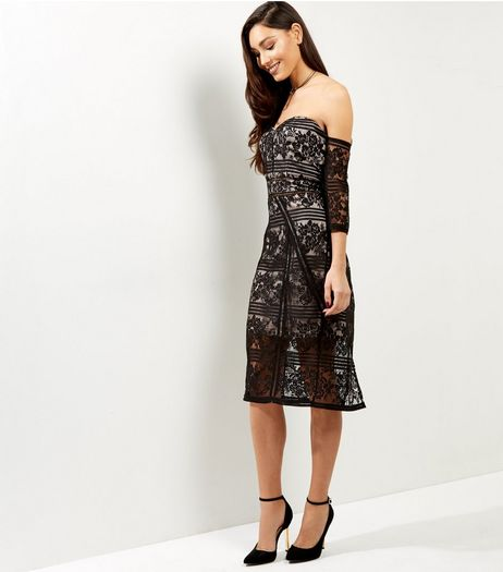 Anita and Green Black Floral Lace Bardot Neck Dress | New Look