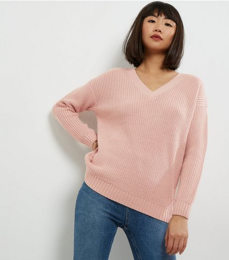 Mid Pink Cross Strap Back Jumper  | New Look