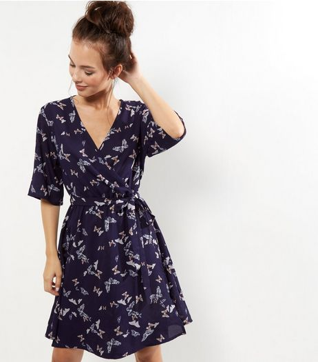 Tall Blue Butterfly Print Wrap Dress | New Look
