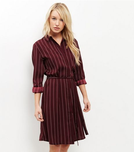 Tall Red Stripe Belted Shirt Dress | New Look