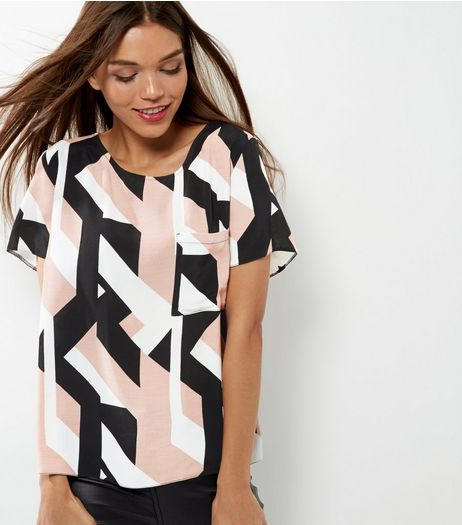 Pink Colour Block Print T-Shirt | New Look