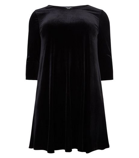 Curves Black Velvet Swing Dress | New Look