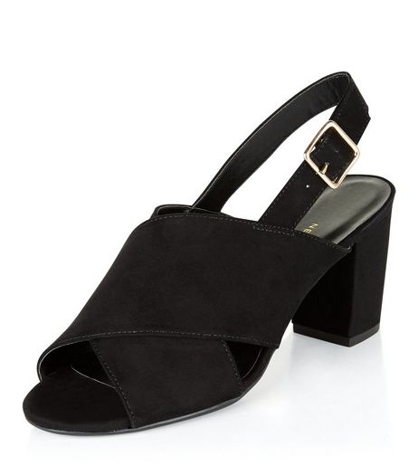 Teens Black Suedette Sling Back Block Heels | New Look