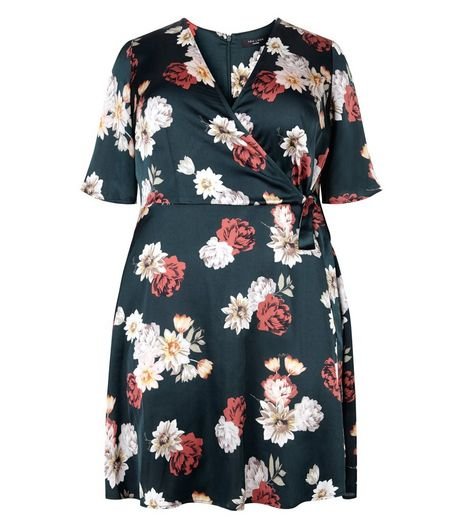Green Sateen Floral Print Wrap Front Dress | New Look