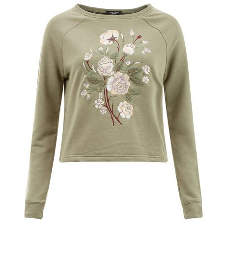 Olive Embroidered Floral Sweater | New Look