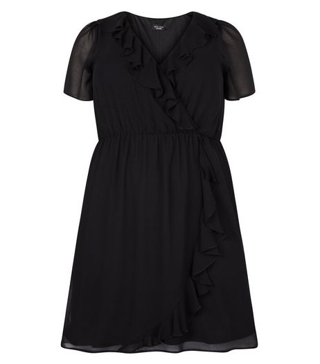 Curves Black Frill Trim Wrap Front Dress | New Look