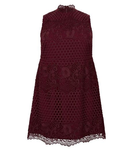 Premium Curves Burgundy Lace Dress | New Look