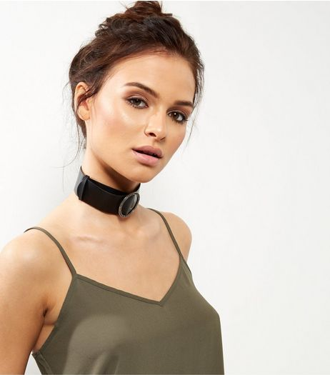 Black Leather-Look Buckle Choker | New Look