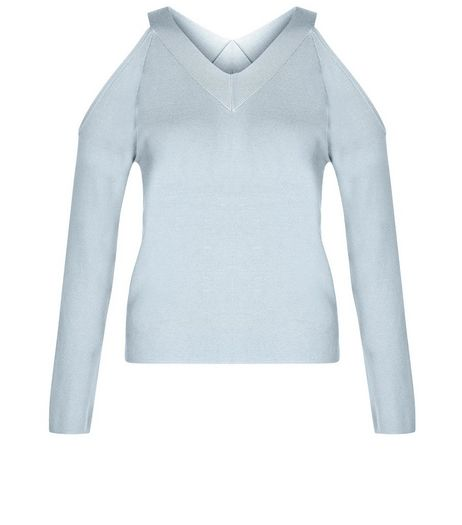 Teens Pale Blue V Neck Cold Shoulder Jumper | New Look