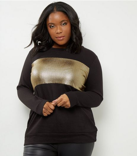 Curves Black Metallic Sequin Print Sweater  | New Look