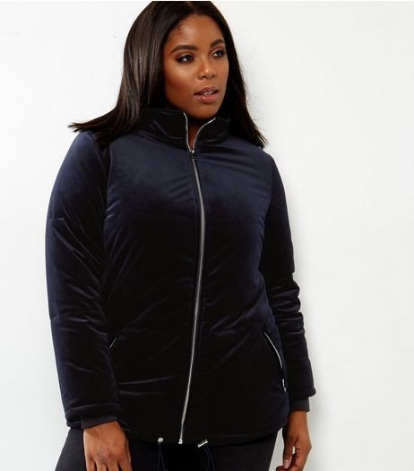 Navy Velvet Puffer Jacket  | New Look