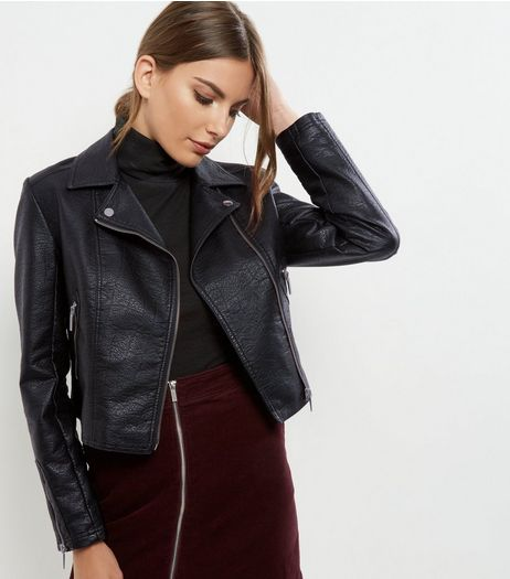 Black Leather-Look Cropped Biker Jacket  | New Look