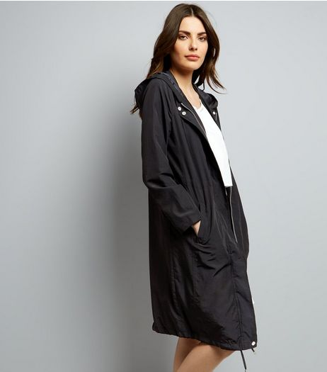 Black Longline Drawstring Duster Jacket | New Look