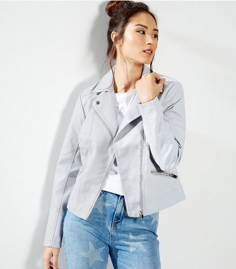 Pale Blue Leather-Look Biker Jacket  | New Look