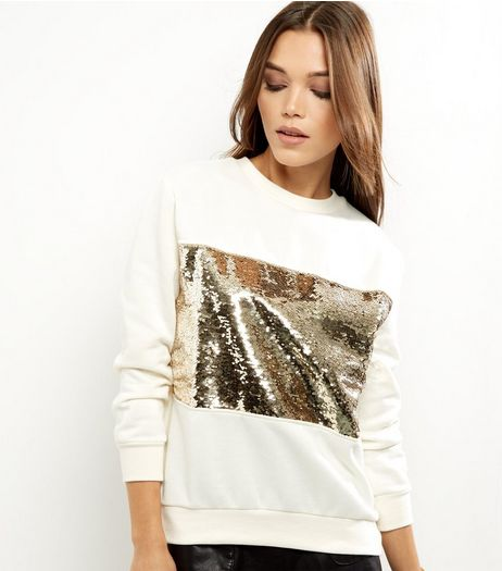 Petite Cream Sequin Panel Sweater | New Look