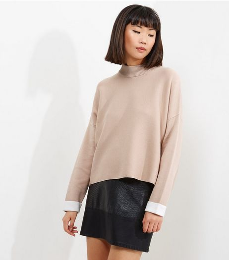 Pink Contrast Cuff Funnel Neck Jumper | New Look