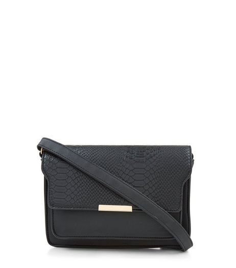 Black Snakeskin Textured Cross Body Bag | New Look
