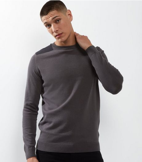 Dark Grey Shoulder Patch Crew Neck Jumper | New Look
