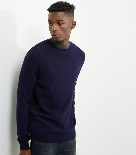 Navy Textured Panel Crew Neck Jumper | New Look
