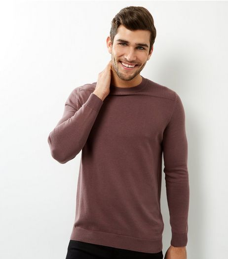 Purple Textured Panel Crew Neck Jumper | New Look