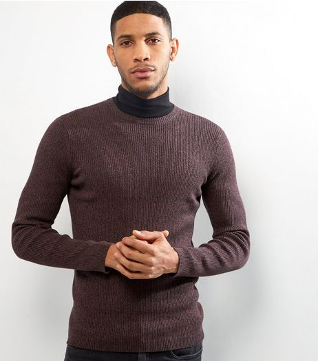 Dark Purple Cotton Ribbed Jumper | New Look