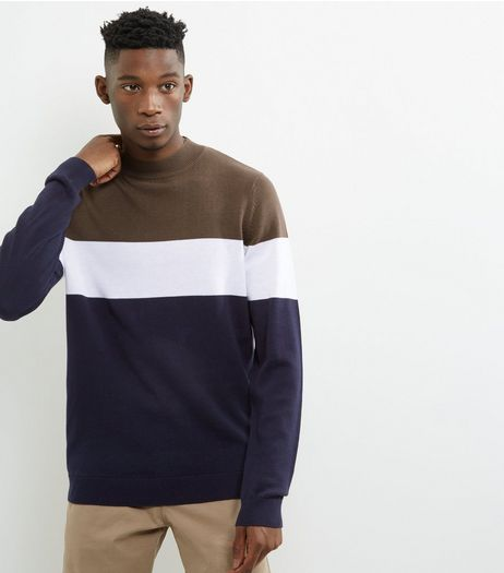 Navy Colour Block Funnel Neck Jumper | New Look