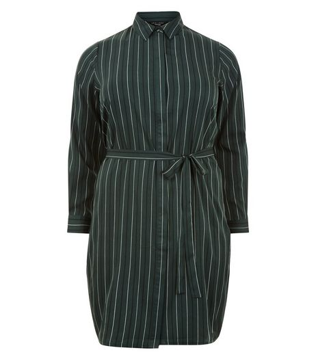 Curves Green Stripe Print Shirt Dress | New Look