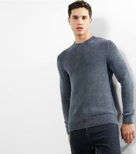 Black Acid Wash Ribbed Crew Neck Jumper | New Look
