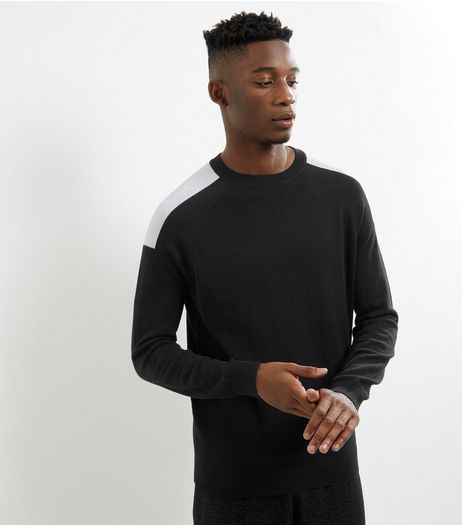 Black Shoulder Patch Crew Neck Jumper | New Look