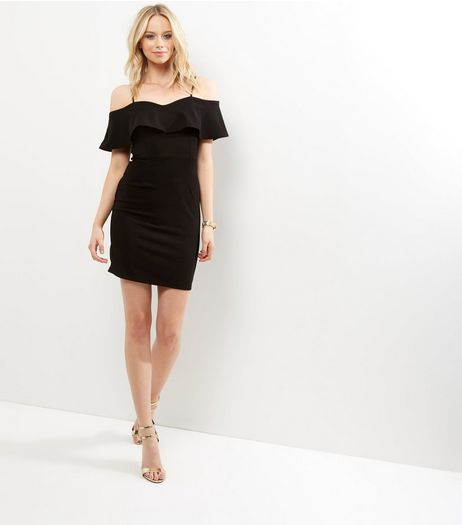 Parisian Black Frill Trim Cold Shoulder Dress | New Look