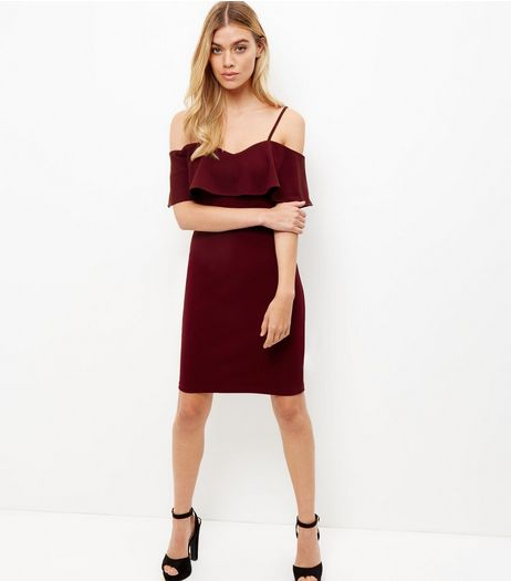Parisian Burgundy Ruffle Trim Cold Shoulder Dress | New Look
