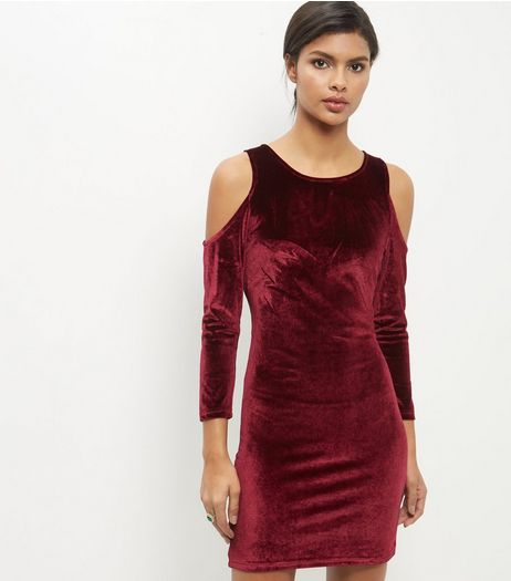 Burgundy Velvet Cold Shoulder Bodycon Dress | New Look