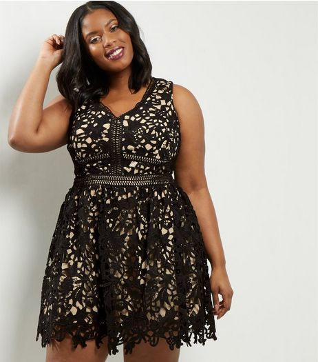 Curves Black Premium Lace Skater Dress | New Look