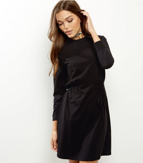 Black Yoke Seam Trim Tie Waist Tunic Dress | New Look
