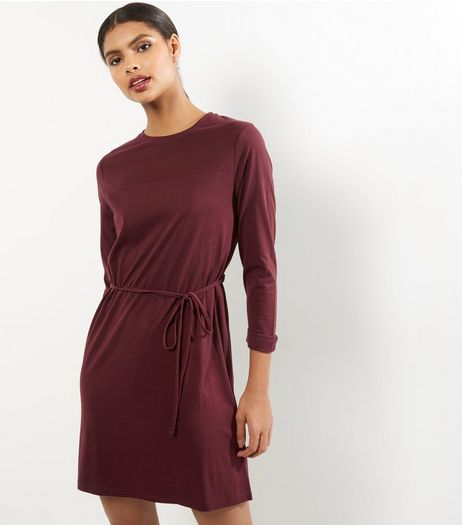 Burgundy Seam Trim Tie Waist Tunic Dress | New Look