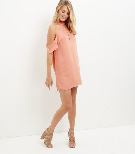 Coral Ruffle Trim Plunge Cut Out Cold Shoulder Dress  | New Look