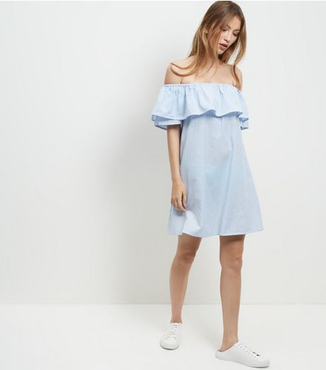 Blue Stripe Frill Trim Bardot Neck Dress  | New Look