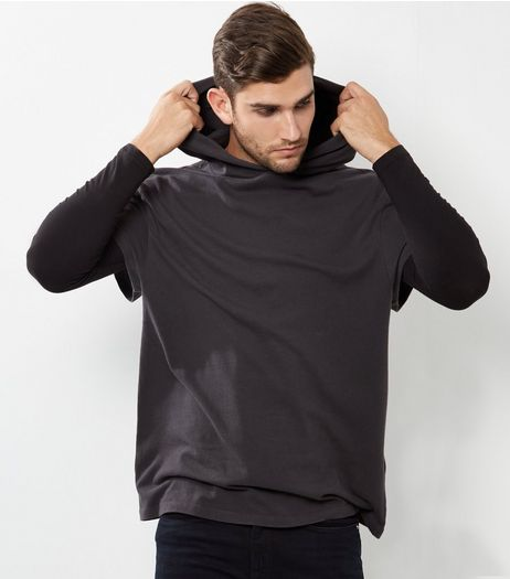 Black Cotton Short Sleeve Hoodie | New Look