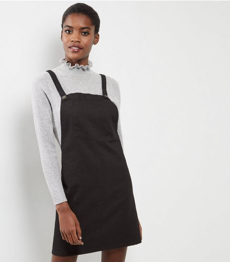 Black Denim Pinafore | New Look