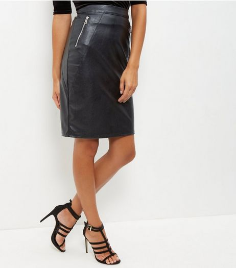 Black Double Zip Leather Look Pencil Skirt | New Look